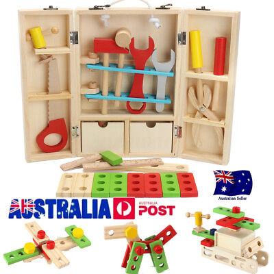 Kids Baby Educational Toys Wooden Building Block Toddler Learning Toy Tool Sets