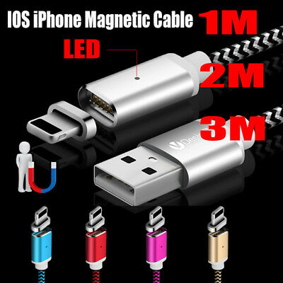 1/2/3M IOS Magnetic USB Data Charger Magnet Cable For iPhone SE 6 6S 7 8 Plus X