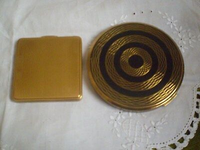 "VINTAGE POWDER COMPACTS X 2 ""KIGU""  x 1 & ""LE RAGE"" BOTH MADE IN ENGLAND 1950's"
