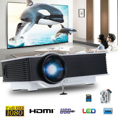 1080P HD LED/LCD Mini Proyector Home Cinema Teatro PC Phone VGA/USB/SD//HDMI