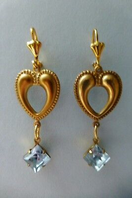 Art Nouveau light blue diamante long drop vintage style heart garland earrings
