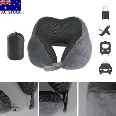 Soft Travel Pillow Memory Foam Rebound Pillow Car Flight Neck Support Cushion AU