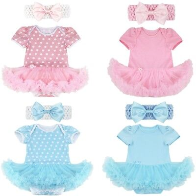 Infant Kids Girls Polka Dots Clothes Newborn Romper Tutu Dress Headband Outfits