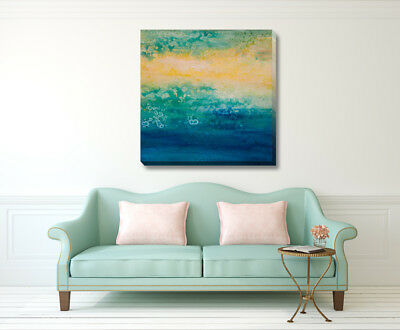 Abstract Stretched Canvas Print Framed Fine Wall Art Home Office Decor Blue Gift