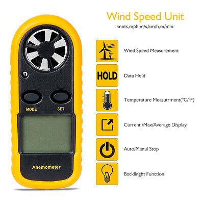 Anemometer Handheld Digital LCD Wind Sailing Speed Velocity Thermometer Meter