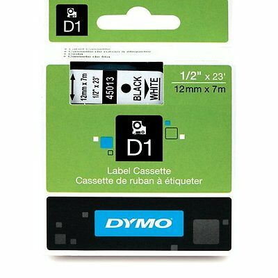 NON FADING ! ORIGINAL DYMO D1 LABEL 12mm x 7M 45013 TAPE BLACK WHITE BLANC NOIR
