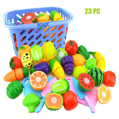 23pcs Kids Pretend Role Play Kitchen Fruit Vegetable Food Toy Cutting Set Gift