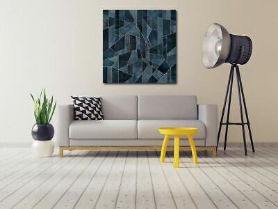 Blue Geometric Pattern Stretched Canvas Print Framed Wall Art Home Office Decor