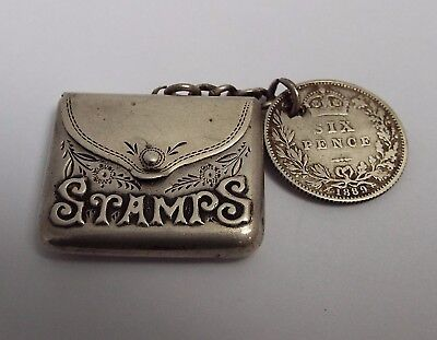 Beautiful English Antique 1904 Solid Sterling Silver Envelope Stamp Case Holder