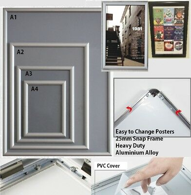 A0 A1 A2 A3 A4 PREMIUM Aluminum Snap Clip Wall Poster Frame Sign Holder Elevator
