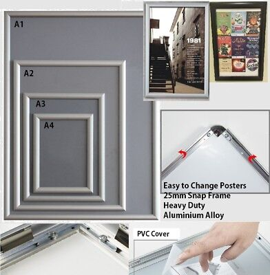 PREMIUM Aluminum Wall Poster Frame Snap Clip A0 A1 A2 A3 A4 Sign Holder Elevator
