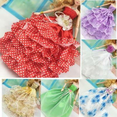 10 x bundle girls toy doll BARBIE clothes gowns dress new outfits dresses BC113