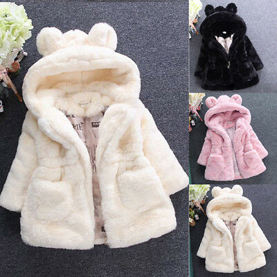 Baby Kids Girl Princess Warm Coat Fleece Jacket Tops Fur Hooded Outwear Overcoat