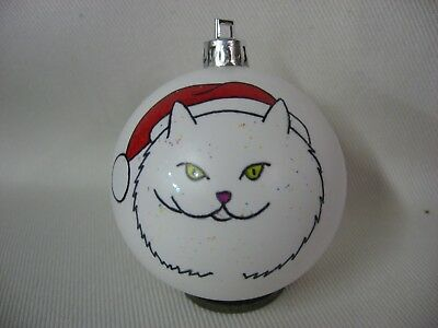 New Handpainted Persian Long-Hair Cat Santa Claus Unbreakable Christmas Ornament