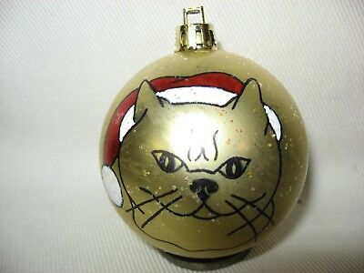 New Handpainted Cat Santa Claus Unbreakable Christmas Ornament