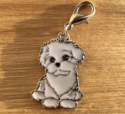 """TERRIER PUPPY """"White"""" Puppy Dog Shaped Mini Clip-on Charm **NEW**"""