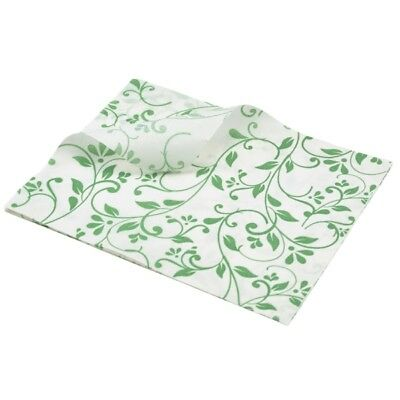 1000x Greaseproof Paper Sheets Green Floral Print 25x20cm, Food Wrap chip basket