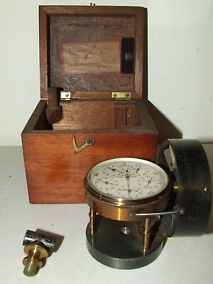 Antique Working Brass Anemometer Air Meter w/ Wood Case - Thomas Hall Co. Boston