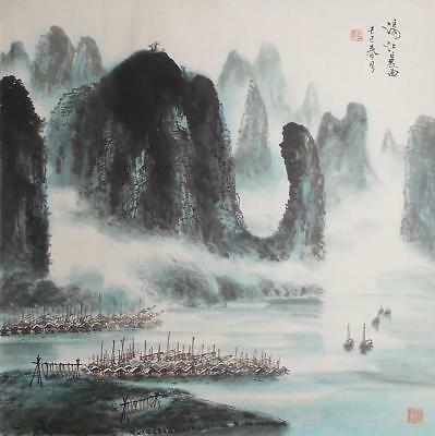 #8741 Chinese Hanging Scroll: Guilin Landscape
