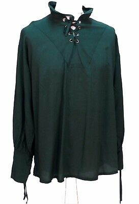 Green Renaissance Pirate Laced Cotton Shirt Green Size XXL 48 Chest Medieval