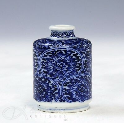 Antique Chinese Blue And White Squat Form Porcelain Snuff Bottle