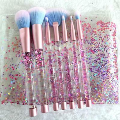 7pcs Unicorn Series Shiny Crystal Liquid Quicksand Glitter brushes with pouch