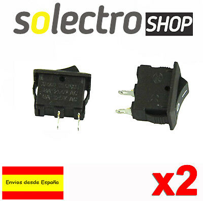 2x Interruptor basculante 3A 250V ON/OFF 2 pin mini Rocker Switch SPST Panel K92