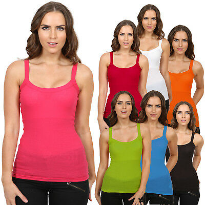 Womens Basic Rib Vest Top Ladies Casual Summer Cami Strap Ribbed Stretchy Top