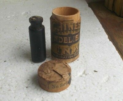 CHINESE INDELIBLE INK SMITH & BARTON NY GLASS BOTTLE IN LABELED WOOD CASE 1880s