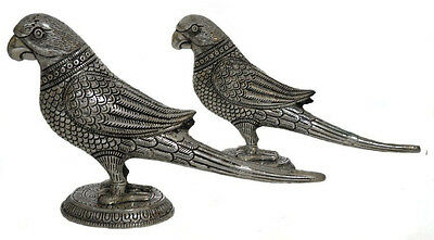 Antique Parrot Pair Lucky Metal Art Traditional Design Indian Gift Brass+ Silver