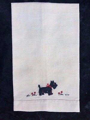 Vintage Scottie Dog Scottish Terrier Small Tea Towel Hand Embroidered