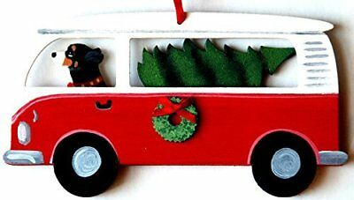 Swiss Mountain Dog Hippie Bus Van Wood Handpainted 3-D Christmas Ornament - USA