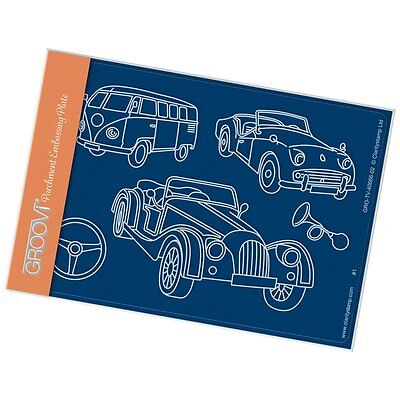 CLARITY STAMP GROOVI A6 Parchment Embossing Plate VINTAGE CARS GRO-TV-40666-02