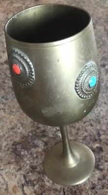 Rare VINTAGE BRASS RITUAL MEDIEVAL RED BLUE STONES Ornate CUP