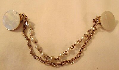 VINTAGE 1940-50s MOTHER of PEARL & FAUX SWEATER CLIP with DOUBLE CHAIN 6""