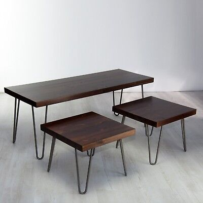 NEW Vintage Solid Wood Coffee Table Set/ Nest - Hairpin Legs, Rustic Dark Wood