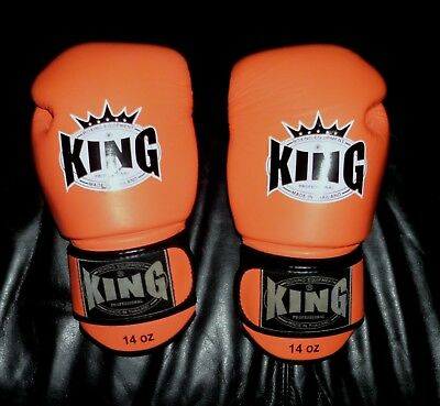 TOP KING Air 14 oz Leder Boxhandschuhe Leder Kickboxen Neon Orange