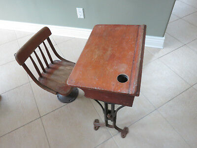 Antique Schoolhouse #4 Kenney Wolkins Chair & Chandler Desk Cast Iron Dated 1896