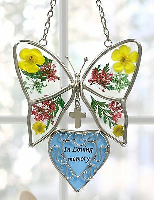 In Loving Memory Butterfly Stained Glass with Flowers Suncatcher