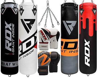 RDX Leather Filled Heavy Punch Bag With Kick Boxing Gloves Chain Set Training MM