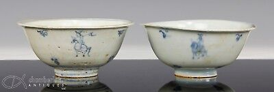 Two Antique Chinese Ming Dynasty Blue White Porcelain Bowls W Horse + Rider