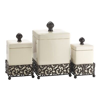 Home Essentials 69461 Pressed Metal Danbury Square Canister Set of 3