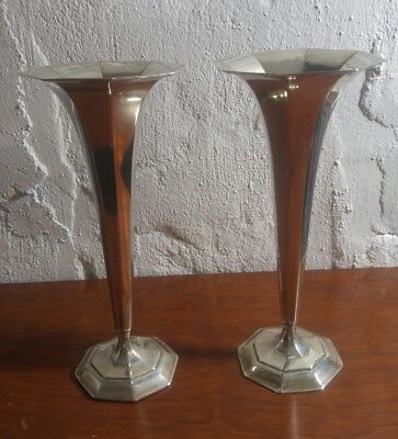Tiffany And Company Sterling Silver Fluted Trumpet Vase 18375 Pair Set No Mono
