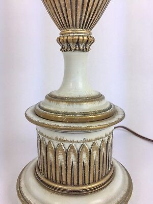 Small Vintage Stiffel Brass & White Lamp Hollywood Regency Mid Century Modern