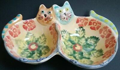 Cute Colorful Hand Painted Ceramic Cats Double Trinket Dish From Italy Vintage?