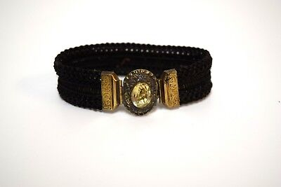 Antique Victorian Woven Dark Brown Hair Bracelet with Gold Clasp & Glass Jewel