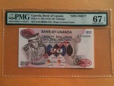 UGANDA 20 Shillings 1973 Pick 7s SUPERB GEM UNCIRCULATED PMG 67 EPQ  SPECIMEN