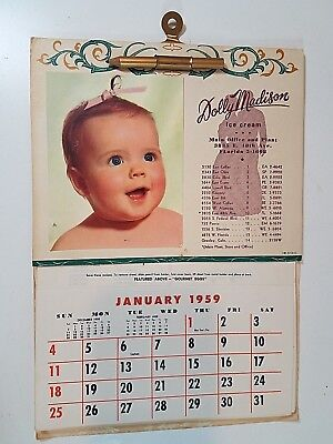 Vintage 1959 Dolly Madison Ice Cream Advertising Town and Country Calendar