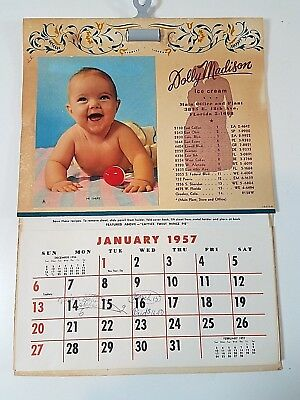 Vintage 1957 Dolly Madison Ice Cream Advertising Town and Country Calendar