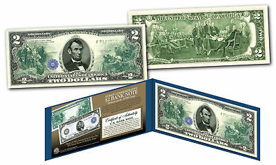 1914 Series $5 Abraham Lincoln FRN designed on modern Genuine $2 U.S. Bill